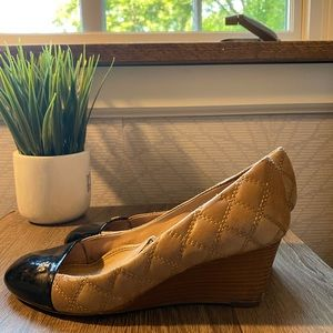 Tory Burch Claremont Quilted Wedge Tan